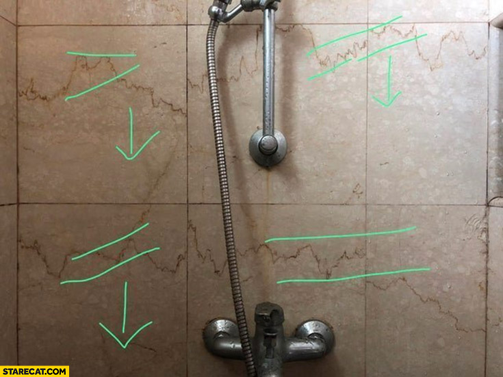 Shower water stains looking like stock market graph technical analysis