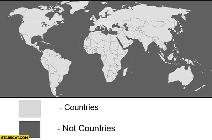 Silly world's map: countries, not countries