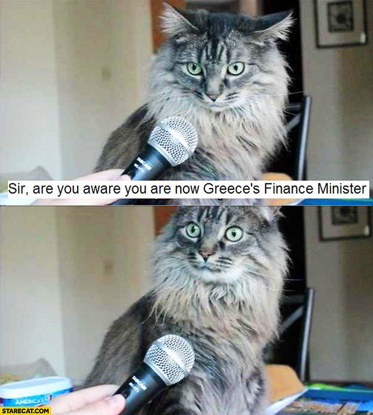 Sir are you aware you are now Greece's finance minister? cat