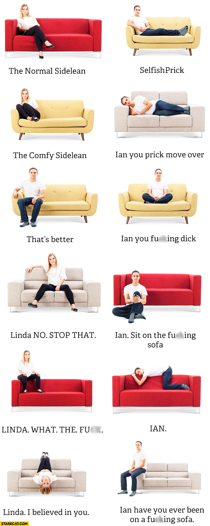 Sitting on a sofa positions Linda Ian trolling
