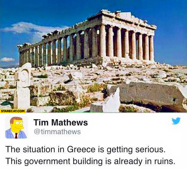 Situation in Greece is getting serious this government building is already in ruins acropolis