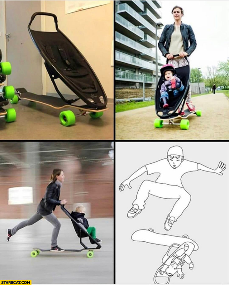 Skateboard longboard with a stroller doing a kickflip on it