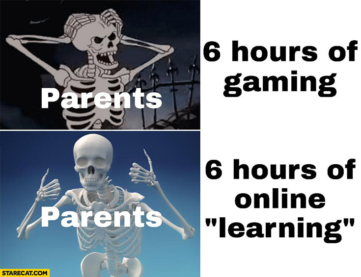 Skeleton parents 6 hours of gaming nope, 6 hours of online learning ok approved