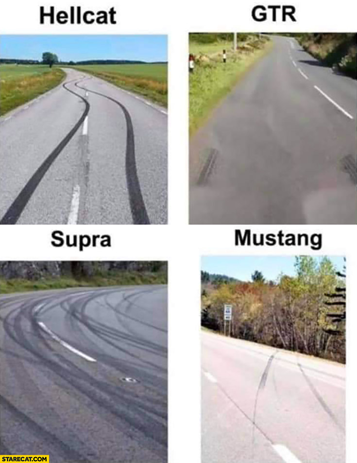 Skid marks: Hellcat, Nissan GTR, Supra, Mustang goes into forest