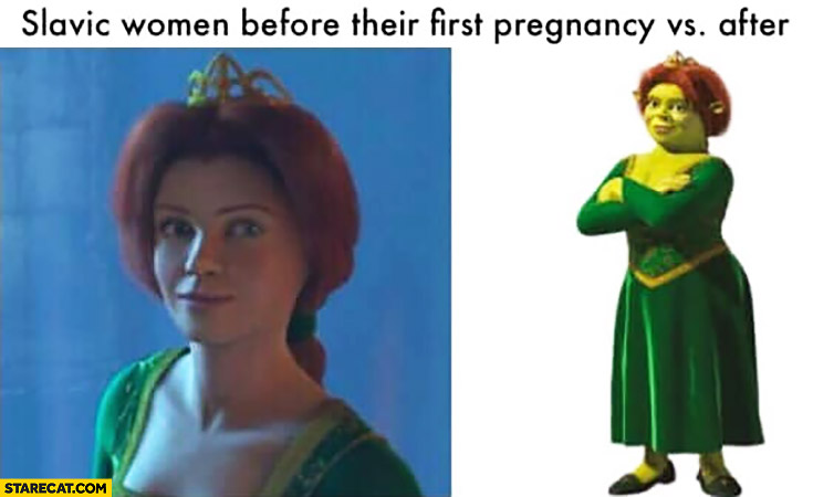 Slavic women before their first pregnancy vs after fat lady Shrek