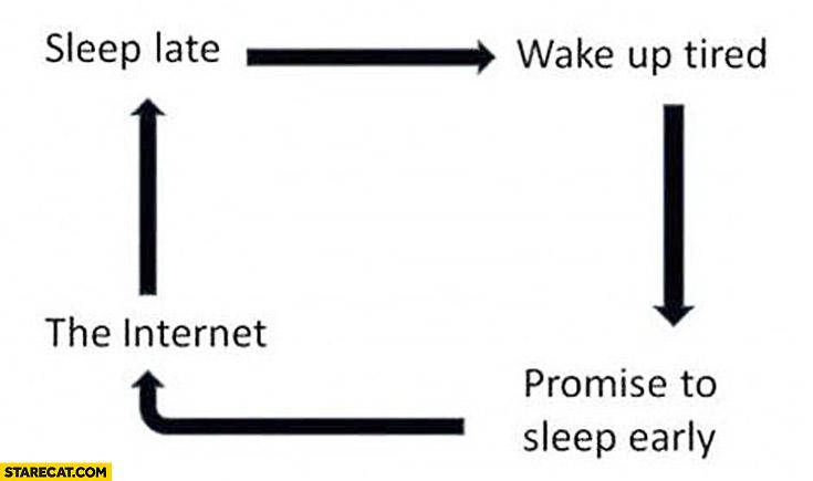 Sleep late wake up tired promise to sleep early the Internet