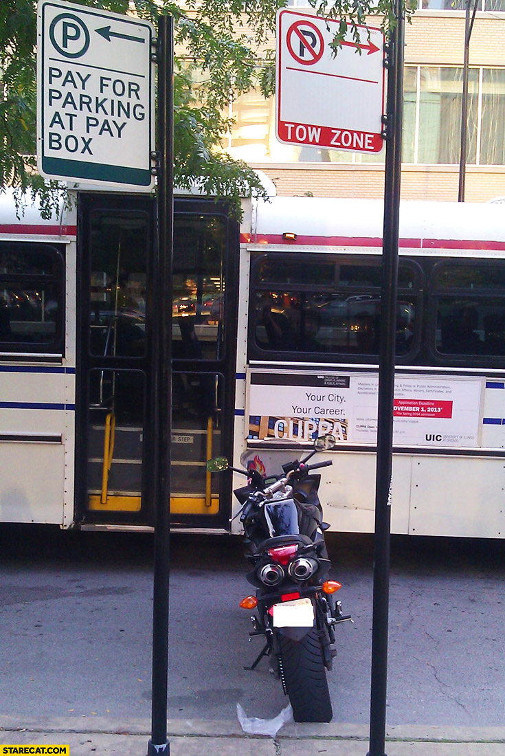 Smart parking between pay for parking and tow zone motorbike