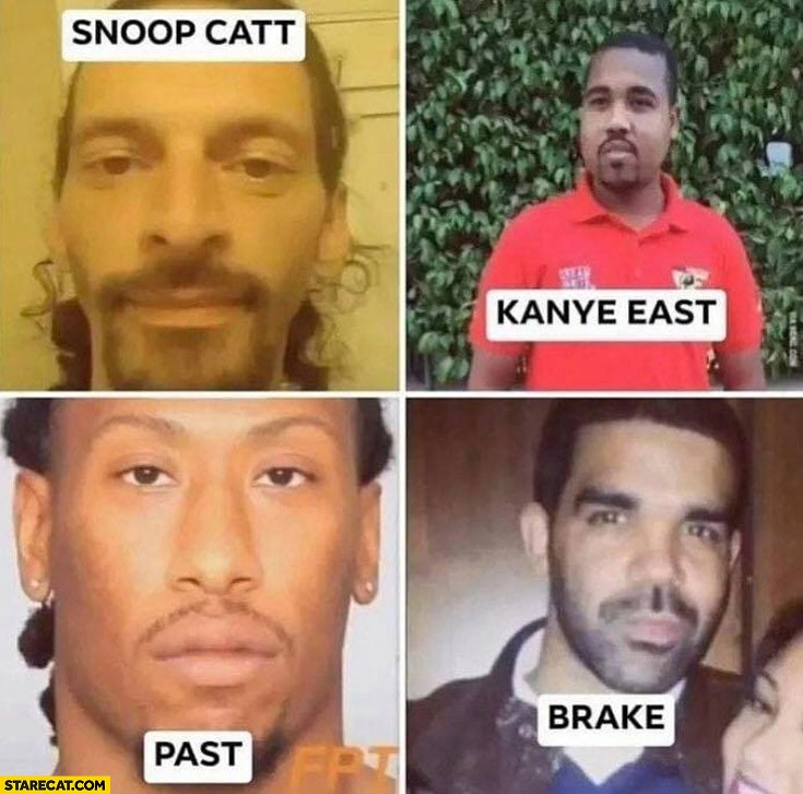 Snoop Catt, Kanye East, Past, Brake rap stars names