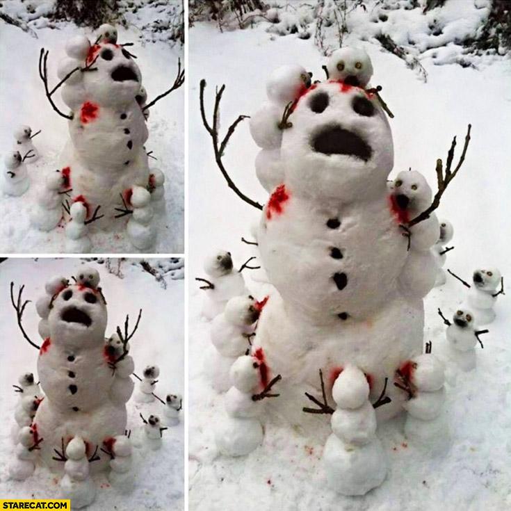 Snowman mini zombie snowmans eating it