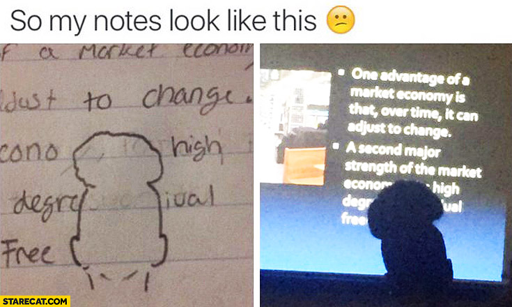 So my notes look like this, guy in a high cap covering the screen