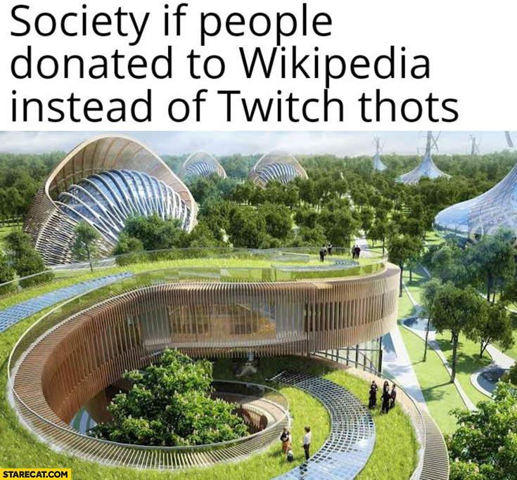 Society if people donated to Wikipedia instead of Twitch thots
