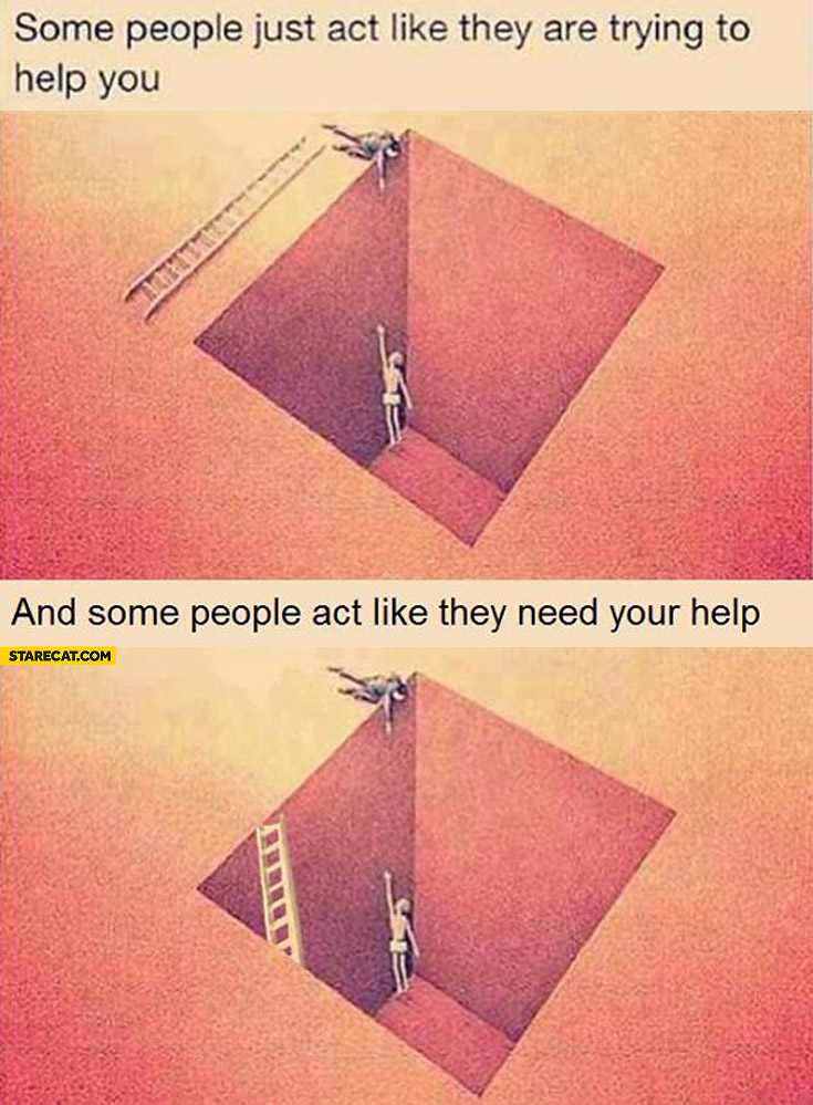 Some People Just Act Like They Are Trying To Help You Some People Act Like They Need Your Help