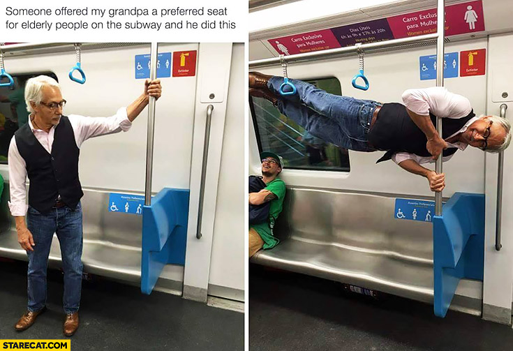Someone offered my grandpa a preferred seat for elderly people on the subway and he did this human flag