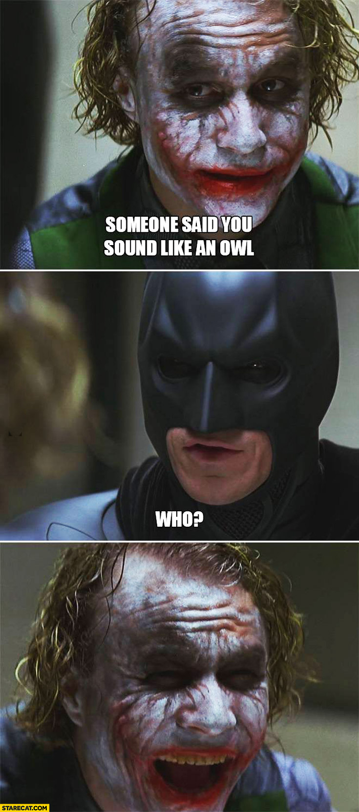 Someone said you sound like an owl. Who? Batman Robin
