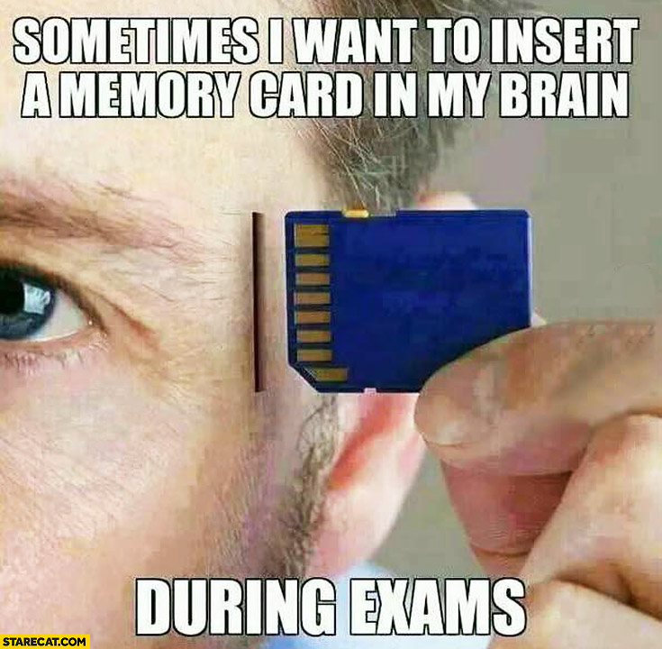 Sometimes I want to insert a memory card in my brain during exams