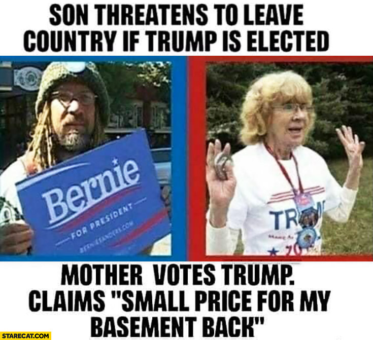 "Son threatens to leave country if Trump is elected, mother votes Trump, claims ""small price for my basement back"""