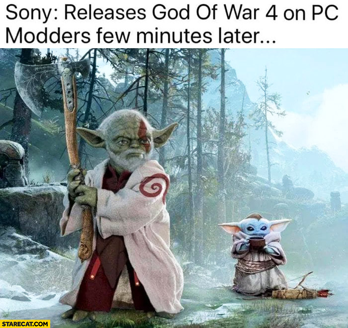Sony releases God of War 4 on PC, modders few minutes later Yoda Star Wars