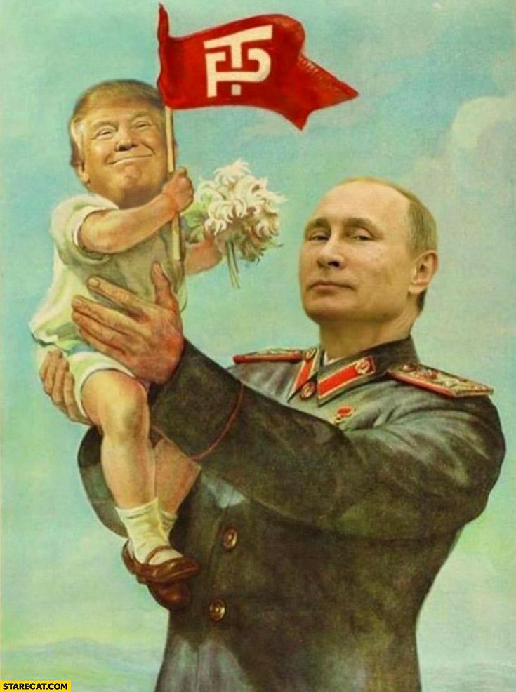 Soviet poster Putin holding Trump photoshopped