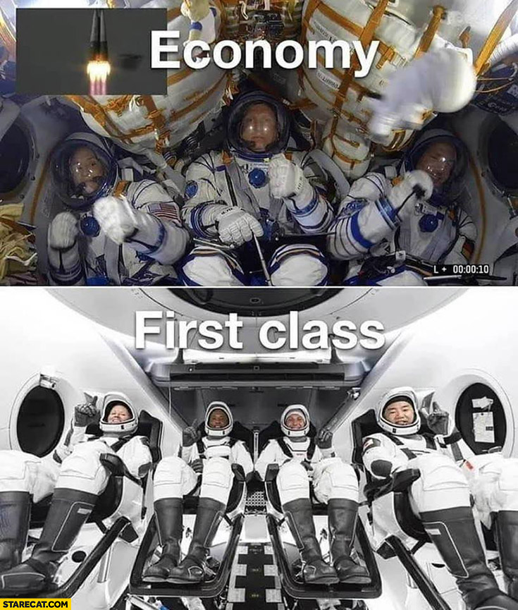 Space flights economy vs first class SpaceX comparison