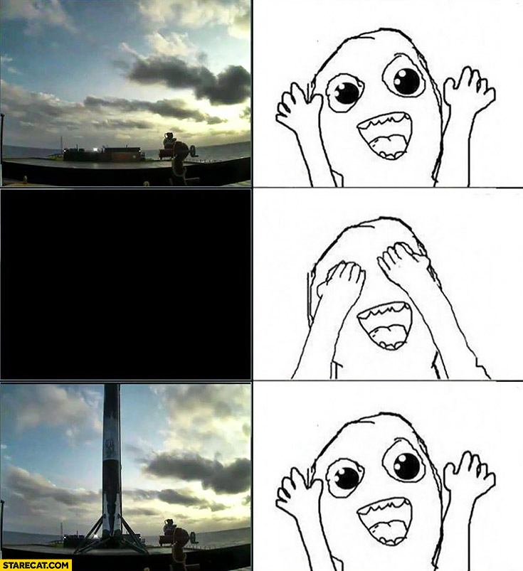 Space X rocket landing closing eyes meme