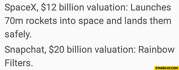 SpaceX $12 billion valuation – launches rockets into space and lands them safely, Snapchat $20 billion valuation – rainbow filter