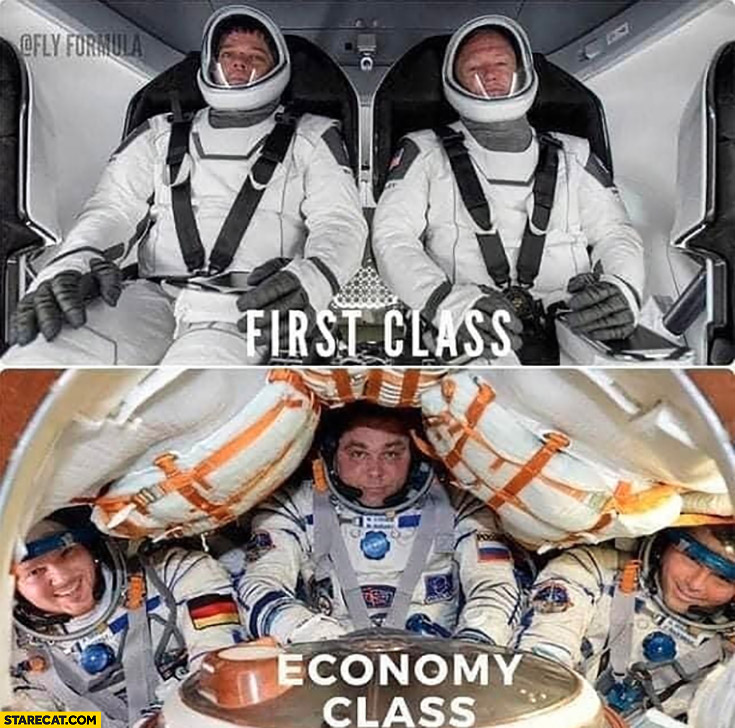 SpaceX flight vs NASA first class vs economy class