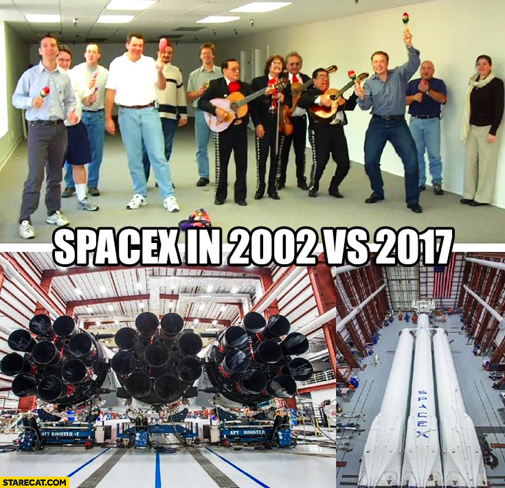 SpaceX in 2002 vs in 2017 compared dancing vs falcon heavy