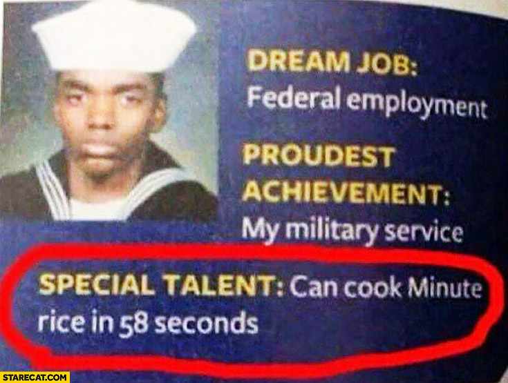Special talent can cook minute rice in 58 seconds