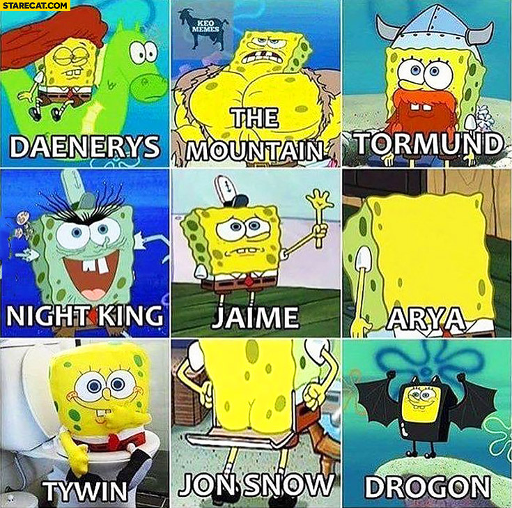 Spongebob Game of Thrones characters