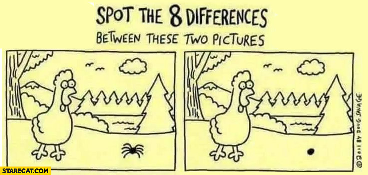 Spot the 8 differences between these two pictures spider legs