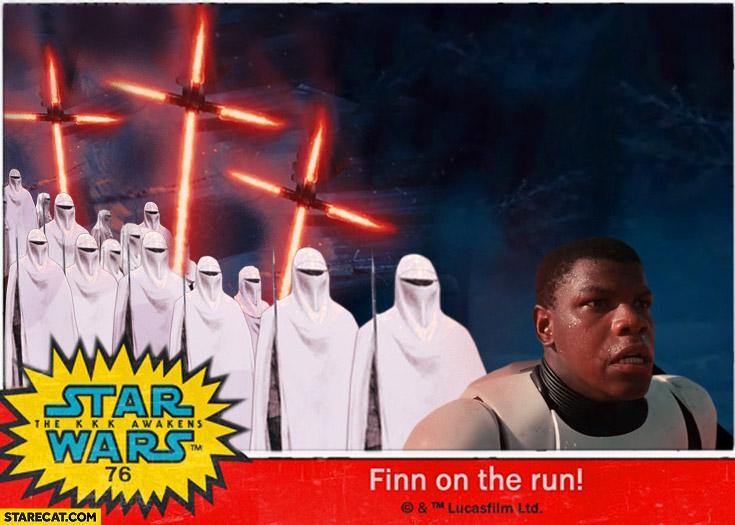 Star Wars black guy KKK army lightsaber crosses Finn on the run