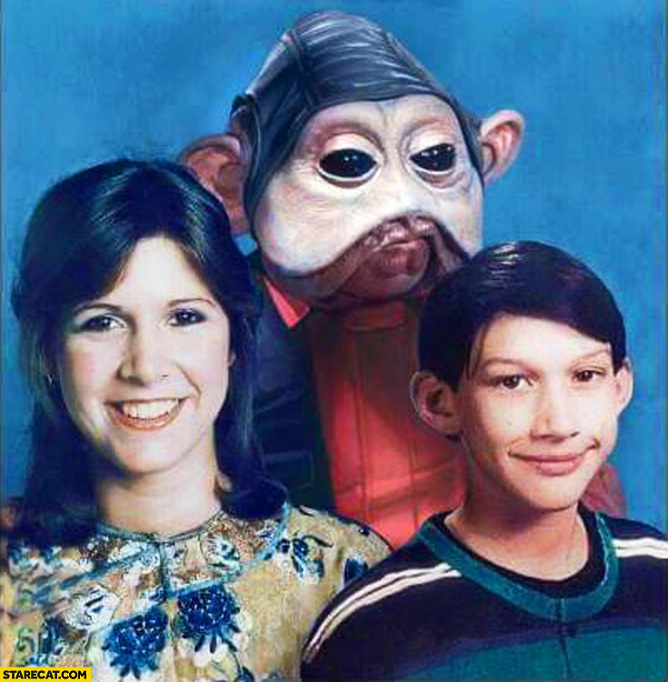 Star Wars family photoshopped Leia, Kylo Ren, Nien Nunb