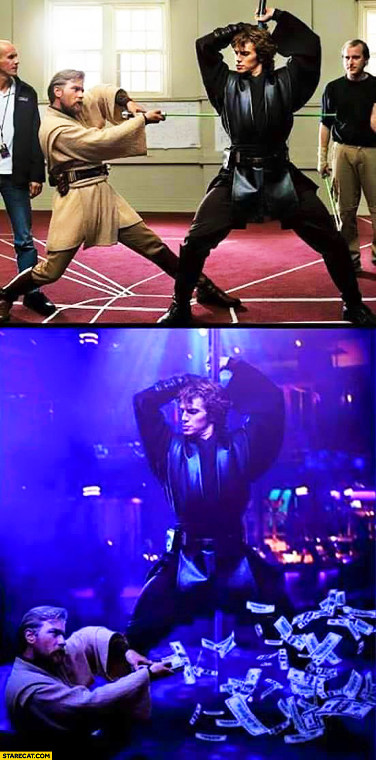 Star Wars fight photoshopped to a night club