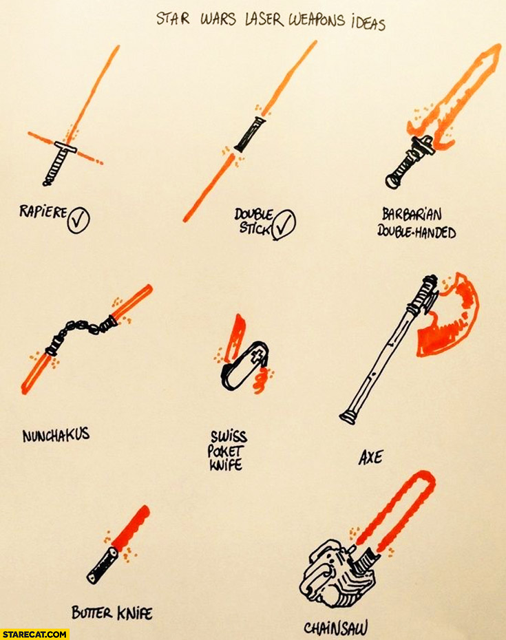 Star Wars lightsaber laser weapons ideas: rapiere, double stick, barbarian double handed, axe, butter knife, chainsaw, swiss pocket knife, nunchakus