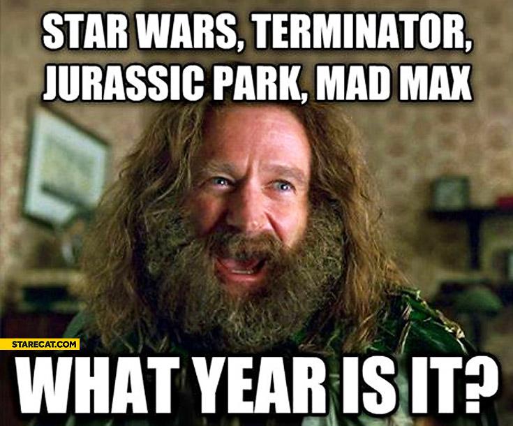 Star Wars Terminator Jurassic Park Mad Max what year is it?