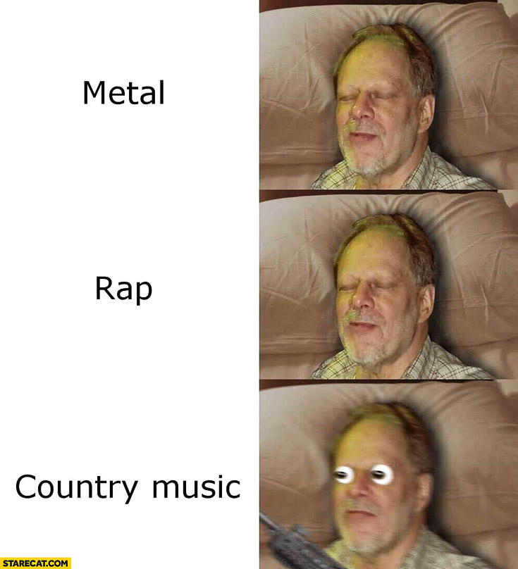 Stephen Paddock metal rap country music reaction meme Las Vegas shooting