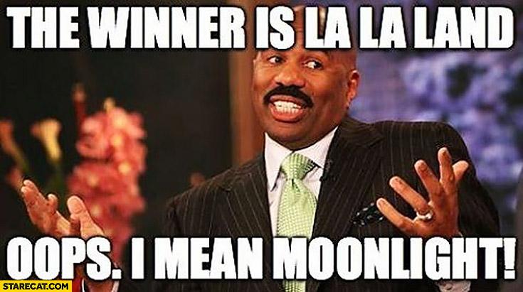 Steve Harvey Oscars the winner is La La Land oops I mean Moonlight