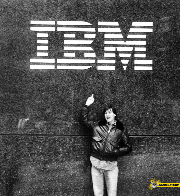 Steve Jobs fuck IBM logo middle finger
