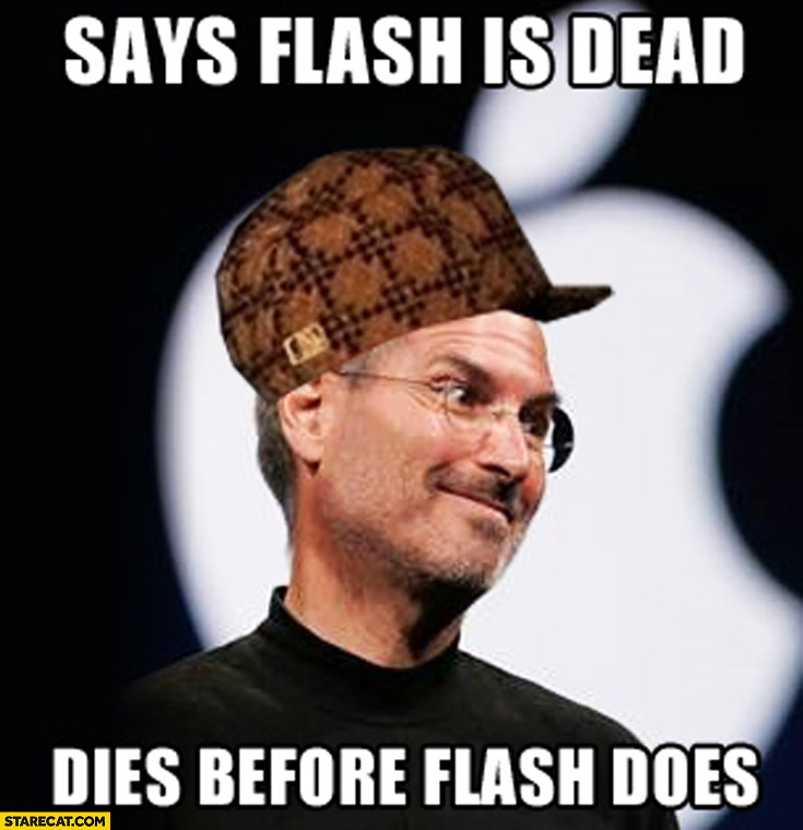 Steve Jobs says flash is dead, dies before flash meme