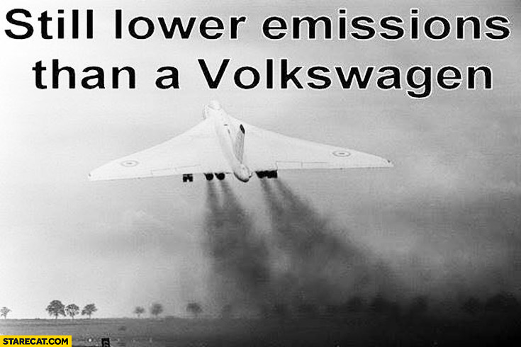 Still lower emissions than a Volkswagen starting taking off plane aeroplane smoke exhaust