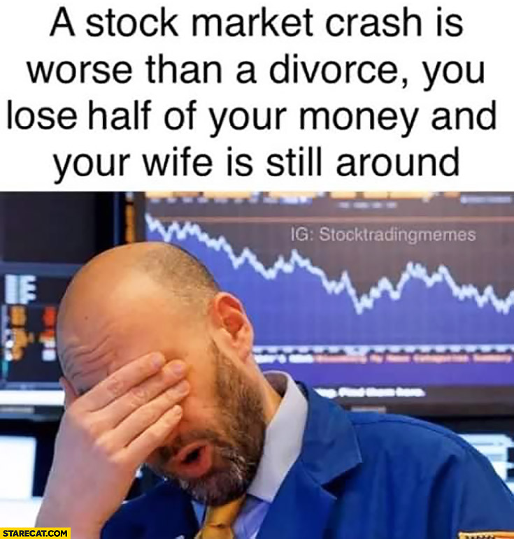 Stock market crash is worse than a divorce you lose half of your money and your wife is still around
