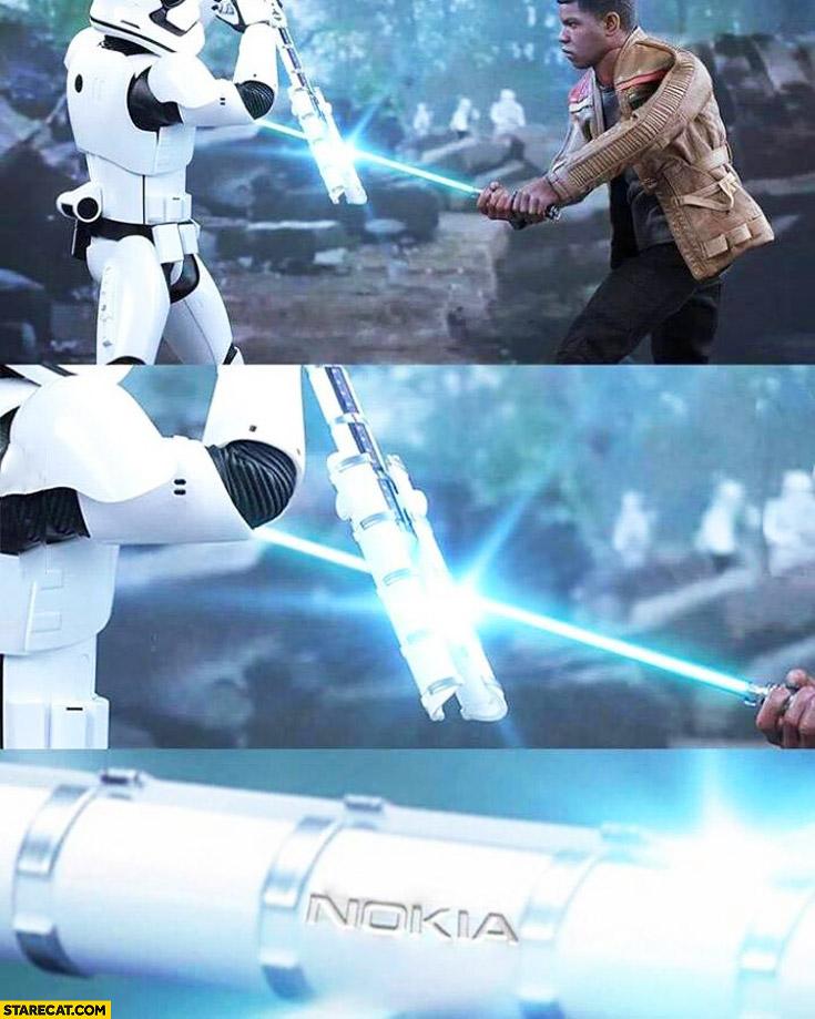 Stormtrooper fighting Finn lightsaber blade Nokia