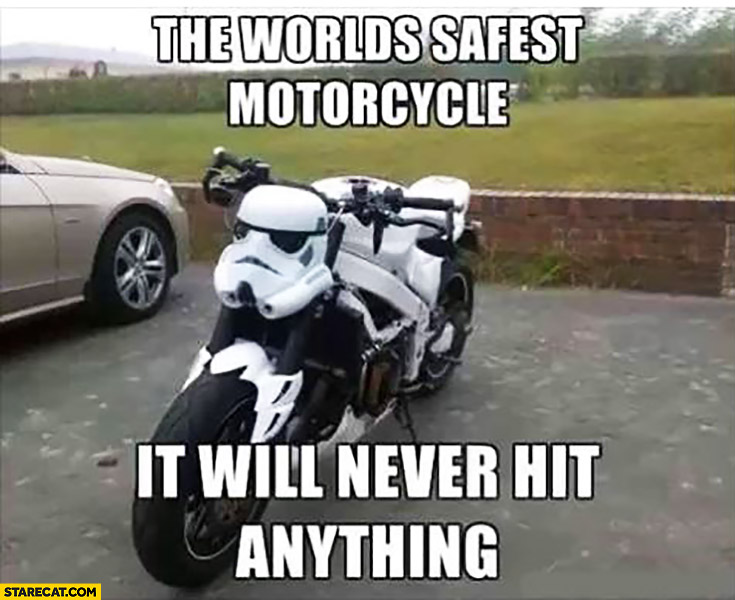 Stormtrooper the world's safest motorcycle: it will never hit anything Star Wars