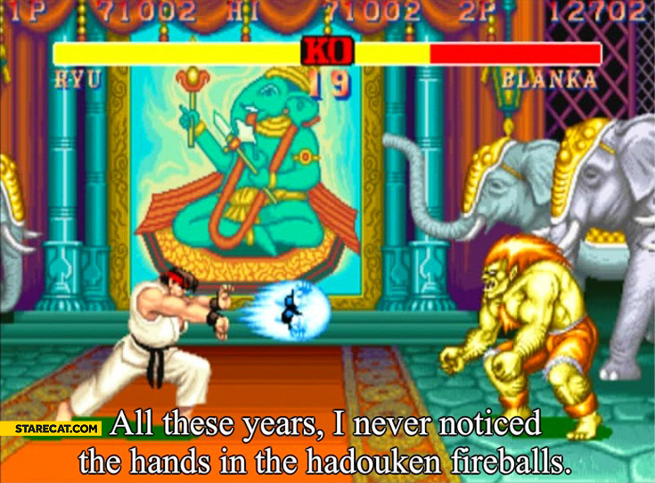 Street Fighter all these years I never noticed the hands in the hadouken fireballs