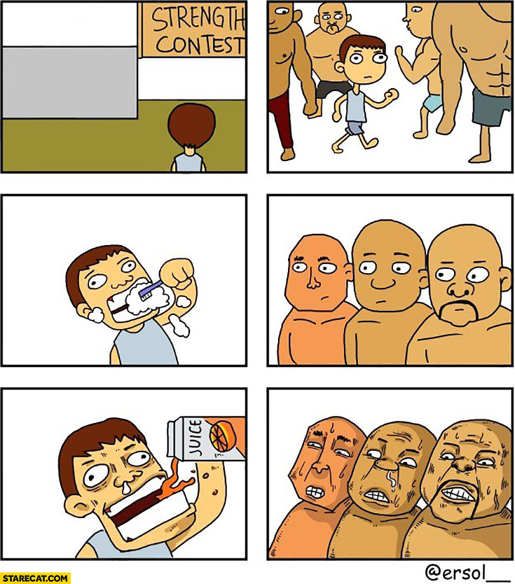 Strength contest drinking juice after brushing teeth comic