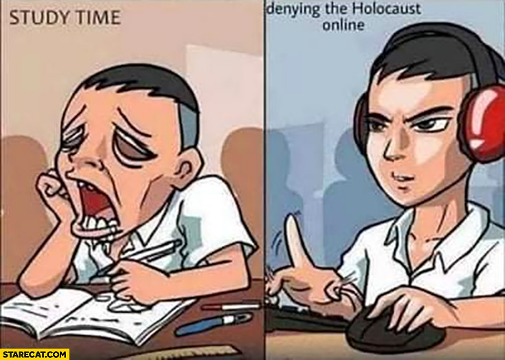 Study time tired vs denying the holocaust online comparison