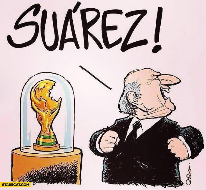 Suarez bites FIFA cup