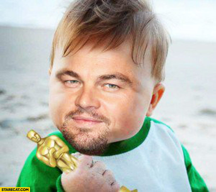 Success kid meme Leonardo DiCaprio with Oscar