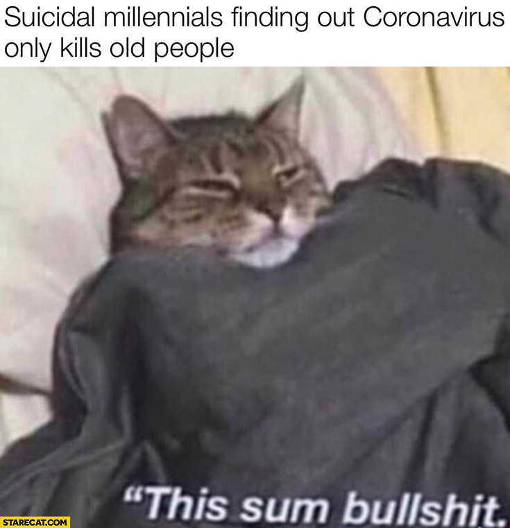 Suicidal millenials finding out coronavirus only kills old people this sum bullshit cat