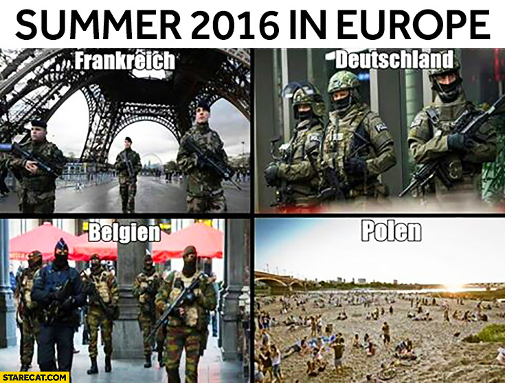 Summer 2016 in Europe: France, Germany, Belgium, Poland comparison armed troops on the streets
